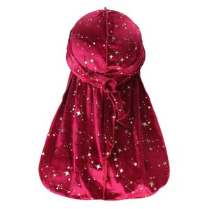 Velvet Print Gold Long Tail Pirate Hat Durag Hats For Women Designer Durags And Bonnets Wholesale Beanies