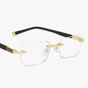 Light ~ Anti-blue Spectacles Presbyopic Eyeglasses Strength Glasses Unisex Rimless Frame Lens Of Clear Glass +1.0 Reading 21s
