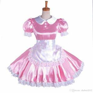 pink sissy Maid Satin Dress Uniform lockable Tailor-made cosplay