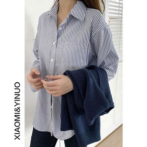 Oufan 7803 Roupas de primavera 2021 nova camisa estrangeira camisa de design das mulheres senso de faixa francesa topt2k7