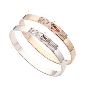 Europe America Fashion Style Lady Women Titanium steel Engraved H Initials Settings Diamond Bangle Bracelet 2 Color