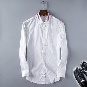 2021 Mode de luxe Arrivée Homme Chemise Slim Fit Tuxedo Shirts Mâle Manches longues Rouge Noir Blanc Casual Polo Tshirt Hommes Plus Taille Vêtements