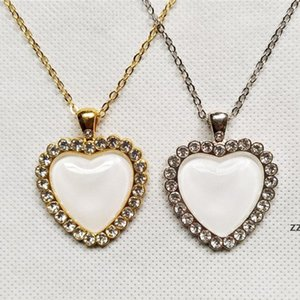 Sublimation Vintage crystal necklace Valentine's Day creative gift heart shape necklace romantic style women love torque trendy HWF8470