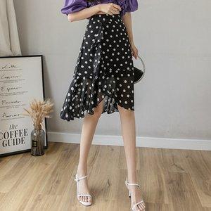 MS Court Polka Dot Mousseline High Taille Haute Touches irrégulières Mid longueur Jupe d'été d'une étape pour femmes