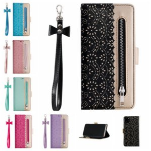 Lace zipper leather phone cases for iphone 13 pro max 12 min 11 X XR XS 7 8 plus case cover