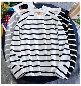 Men's T-Shirts Black White Striped Vintage Long Sleeve T Shirts 2021 Spring Fashion Harajuku Printed O Collared Tshirts For Men Ropa