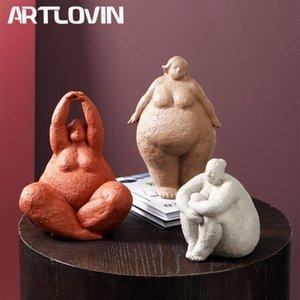 Artlovin Abstrait Fat Lady Figurines Vintage Femme Statue Tabletop Résine Cadeaux Cadeaux Accueil Décoration Ornements Figurents créatifs 210329
