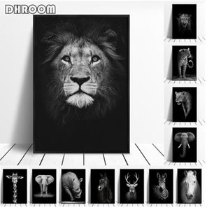 Canvas Painting Animal Wall Art Lion Elephant Deer Zebra Posters and Prints Wall Pictures for Living Room Decoration Home Decor sggh