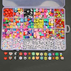 Handmade Jewelry Wholesale 24 Grid Smiley Soft Pottery Loose Beads DIY Bracelet Necklace Colorful Soft Pottery Letter Beaded Set