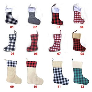 12styles Stockings Check Stocking Plaid Xmas Socks Candy Gift Bag Indoor Hanging Pendant Christmas Decorations RRA3648 689Y