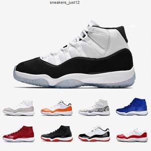 Concord High 45 Jumpman 23 Мужские баскетбольные туфли Новые 11 Выросшие 2019 11s Металлическая серебряная шапка и платья
