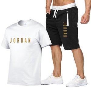 Moda 23 Letra Estampado Set Men 2021 Verano Nuevo Traje Sudadera + Pantalones cortos de playa Conjuntos para hombre Camisetas Casuales Sportsweares