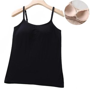 Camisoles & Tanks 40GC Women's Stretch Modal Cami With Built-in Shelf Bra Support Camisole Adjustable Spaghetti Strap Tank Top