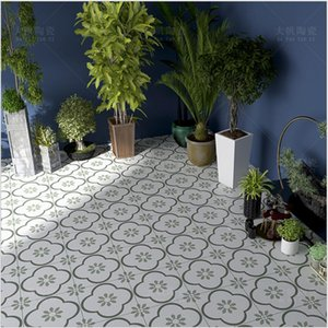 300x300 Nordic retro small flower tiles restaurant non slip floor brick bathroom green mosaic printing ceramic tile