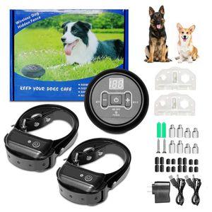 كلب سياج كهربائي تغطية لاسلكية قطرها 40 ~ 1000M نظام احتواء الارسال طوق التدريب مقاوم للماء