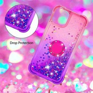 Fashion Women Shinning Diamond Dynamic Liquid Finger Ring Bracket Back Case for Samsung S20 S20FE S10 Plus S8 S9 Note20 Ultra Note10 Pro