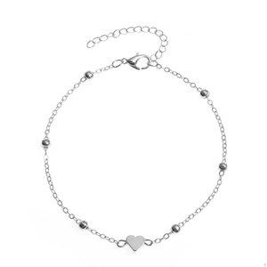 S1418 Bijoux à la mode chaude Double couche Coeur Chaîne Ankinette Alliage Beads Brefle Bracelet Beach Anklets Chaînes à pied 62 U2