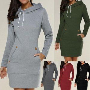 Women's Hoodies & Sweatshirts 2021 Cord Tunic Dress Women Casual Wear Extra Long Hoodie Plain Hooded Elegant Sweatshirt 3xl Big Size