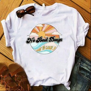 ر المرأة المرأة قميص جرافيك لا أيام سيئة أشعة الشمس أعلى الزى الإناث زائد حجم kawaii السيدات المحملة فام الملابس