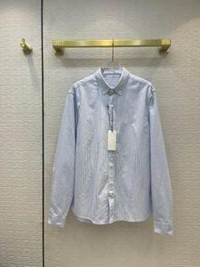 Women's Blouses & Shirts High-end Brand Blue Striped Cotton Women Autumn 2021 Good Quality 3D Cut Lapel Long Sleeve Loose Pink Lady