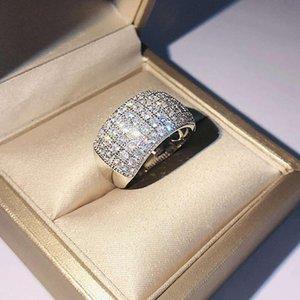 خواتم العنقودية الهيب هوب / روك أصل طبيعي 1.5 مويسانيت الأحجار الكريمة الفضة 925 مجوهرات الدائري للنساء ريال S925 مربع الاسترليني