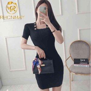 Knitted Dress Square Neck Short Sleeve Back Zipper Gold-button Miniskirt Bodycon Women Elegant Sexy Dress Summer 210515