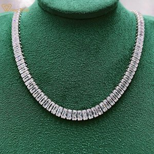 Chains Wong Rain 100% 925 Sterling Silver Created Moissanite Gemstone Anniversary Party Unosex Full Diamond Necklace Fine Jewelry Gift