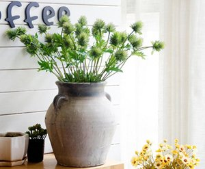 10 unids artificial 3 cabezas eryngiy foetidum flor hoja de hoja para boda ramo nupcial hogar oficina el decoración decorativos flores decorativas guirnaldas