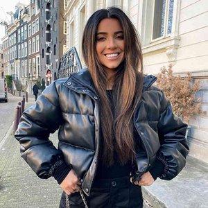 CP Winter Thick Warm Short Parkas Fashion Black PU Leather Coats Women Elegant Zipper Cotton Jackets Female Ladies