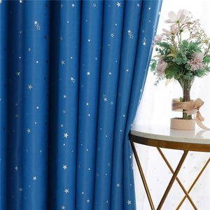 Curtain & Drapes Blue Lucky Star Printed Blackout Curtains For Living Room Kids Bedroom Modern Window Treatment 100% Polyester Pink