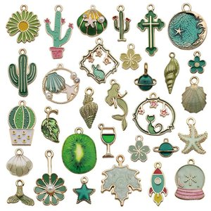 Charms 31pcs Colorful Enamel Mixed Cartoon Cactus Pendant For Jewelry Making DIY Earring Bracelet Neacklace Accessories Supplies
