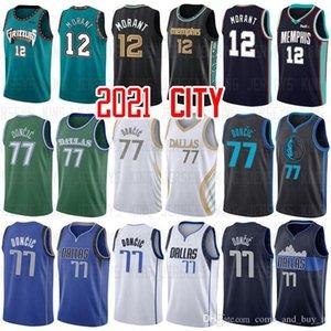 2021 JA 12 Morant 77 Luka 6 Kristaps Doncic MemphisGrizzlies.NBA.Dallas.Mavericks New City Basketball Jerseys