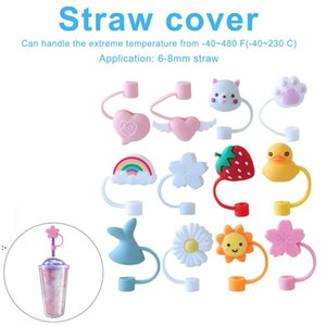 Creative Silicone Straw Tips Cover Reusable Drinking Dust Cap Splash Proof Plugs Lids Anti-dust Tip Sunflower Cherry Blossom Rainbow OWF9135