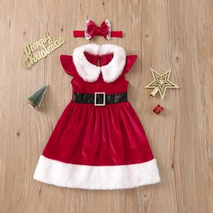Girl's Dresses Little Girls Casual Sleeve Christmas Dress Infants Toddler Sweet Plush Collar Santa Claus With Headband Outfits