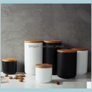 حديقة تدبير المنزل زجاجات الجرار خزان السيراميك مختومة زجاجة القهوة مع غطاء الخشب التوابل جرة حاوية وعاء الحبوب المنظم 9nqbj