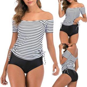 Kadınlar Takini Set Yüksek Bel Vintage Mayolar Şerit Baskılı Slash Boyun Sayacı Bow Kapalı Omuz Mayo Plaj Mayo Kadın Swimwea