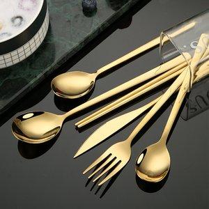 الفولاذ المقاوم للصدأ أواني الطعام شوكة سكين ملاعق الحلوى القهوة ملعقة الفضة روز الذهب الأسود المنزل مطبخ مطعم السكاكين cwe5560
