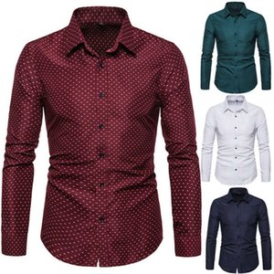 Diseñador para hombre vestido de lunares camisas de manga larga delgado algodón mezcla tops de moda primavera otoño solapa cuello homme tees