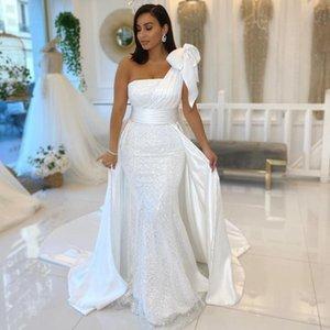 Блестящие одно плечо белые русалки свадебные платья с луком атлас и блестение свадебных платвей ленты свадебные Vestidos de Novia