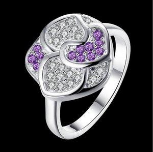 women's sterling silver plated heart flower Zircon ring GSSR350 fashion 925 silver plate rings