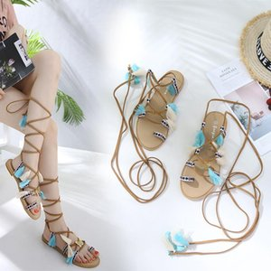 Sandals Women Bohemia Ethnic Flower Casual Flat Flip Flops Cross Ankle Strap Open Toe Summer Beach Shoes A690