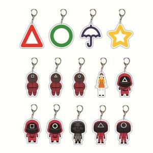 Halloween fidget toys Squid game Anime Keychain netflix Man Key Chain for Car Accessories Women Cute Bag Pendant KeyRing Acrylic Cartoon Friend Gifts-TOPN973