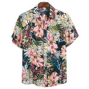 Мужские рубашки с коротким рукавом 2021 летняя гавайская цветочная рубашка для мужчин отворотает социальный повседневный пляж мужской мужской