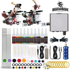 DragonHawk Tattoo Kit 2 Машины Катушки Оружие 20 чернил Энерговые источники Иглы Советы для начинающих D175GD-23