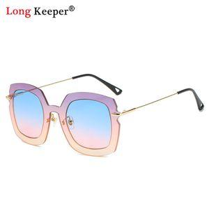 Солнцезащитные очки Синие розовые Женщины Мода Большой Квадратный Рамка Очки Леди Негабаритный Летний щит для женского УВ400