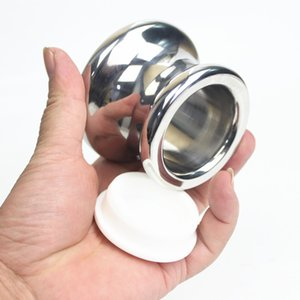 Plugue Anal de Aço Inoxidável Grande Cabeça Oco Butt Plug Quintal Dilatador Expander Anal Sex Toys para Casais H8-1-72
