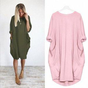 Autumn Womens Dresses Pocket Loose Dress Ladies Crew Neck Casual Long girl Tops Dress Female Fashion Big Size S-XXL Y2T2#
