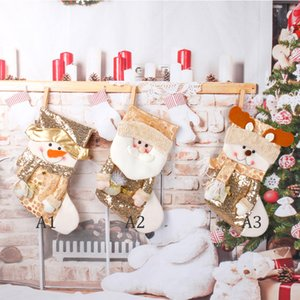 Christmas Socks Gold Sequin Stocking Santa Claus Candy Sock Xmas Tree Pendant Children Gift Bag Festival Party Supplies GWD10288
