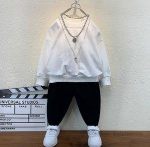 Designer boys clothing sets kids round collar long sleeve sweatshirt+casual pants 2pcs autumn children sports outfits Q2258