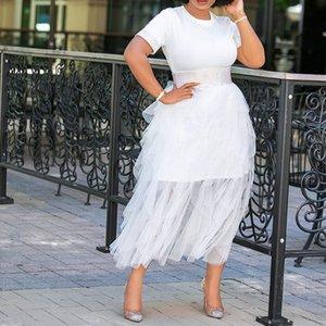 اللباس تي شيرت المزيد من المواضيع بإحكام متماسكة تنورة دعوى معا الرقبة كم قصير أنثى قميص فضفاض 2021 وصول الصيف M-XXL الأبيض cyjt